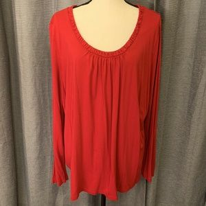 Talbots Woman Sz 3X Red Top Long Sleeve Gathered